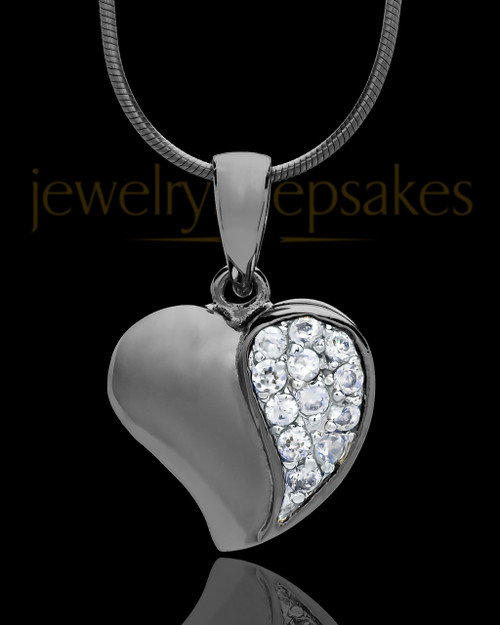 Black Plated Jeweled Heart Keepsake Jewelry