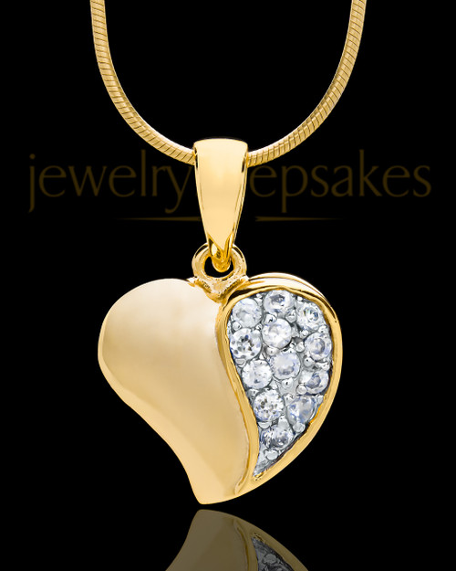 Gold Plated Jeweled Heart Keepsake Jewelry