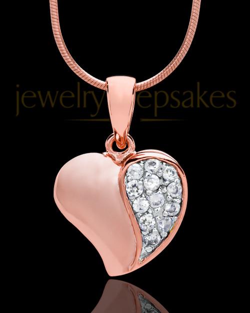 Rose Gold Plated Jeweled Heart Keepsake Jewelry