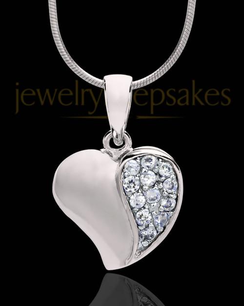 Sterling Silver Jeweled Heart Keepsake Jewelry