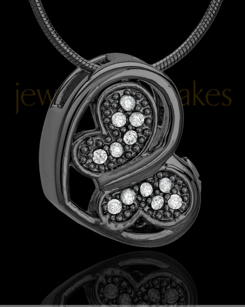 Black Plated Fluttering Heart Keepsake Jewelry