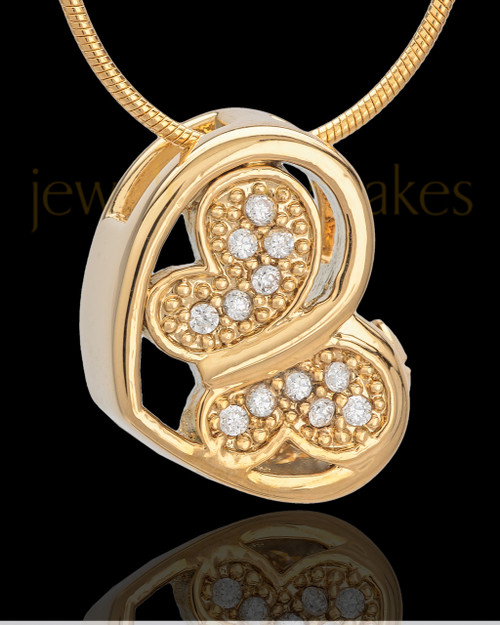 Gold Plated Fluttering Heart Keepsake Jewelry