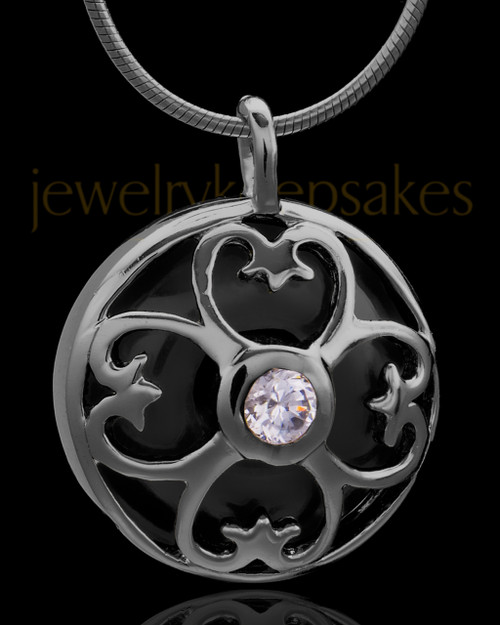 Black Plated Clover Heart Keepsake Jewelry