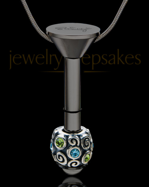 Black Stainless Millenium Cremation Pendant with Trusting Charm