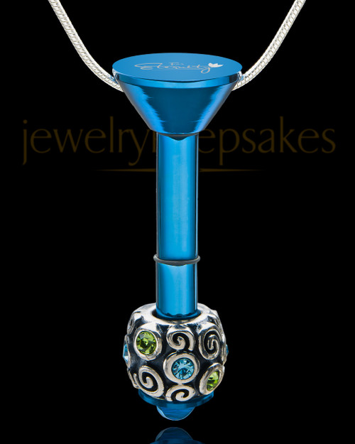 Blue Stainless Millenium Cremation Pendant with Trusting Charm