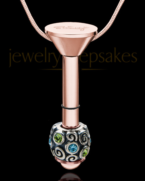 Rose Gold Stainless Millenium Cremation Pendant with Trusting Charm