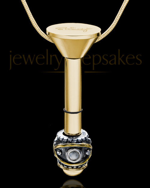 Gold Plated Stainless Millenium Cremation Pendant with Steadfast Charm