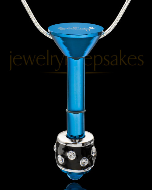 Blue Stainless Millenium Cremation Pendant with Graceful Charm