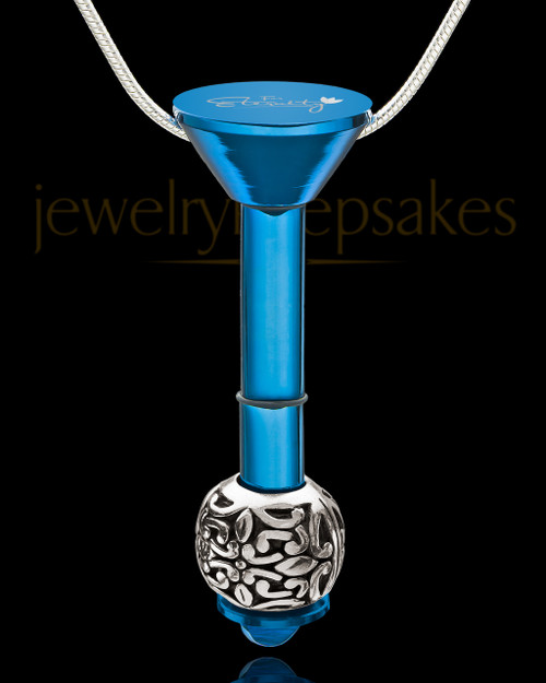 Blue Stainless Millenium Cremation Pendant with Honest Charm