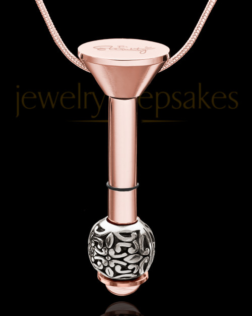 Rose Gold Stainless Millenium Cremation Pendant with Honest Charm