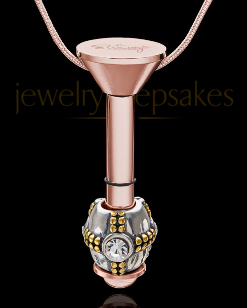 Rose Gold Stainless Millenium Cremation Pendant with Sparkle Charm