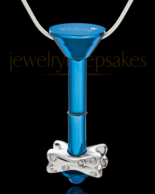 Blue Stainless Millenium Cremation Pendant with Fetch Me Bone
