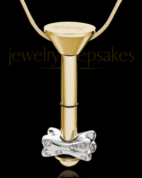 Gold Plated Stainless Millenium Urn Pendant and Fetch Me Bone Charm