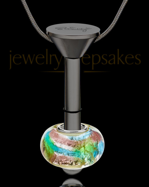Black Stainless Millenium Cremation Pendant with Flowing Waters Charm