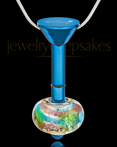 Blue Stainless Millenium Cremation Pendant with Flowing Waters Charm