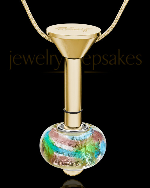 Gold Plated Stainless Millenium Urn Pendant and Flowing Waters Charm
