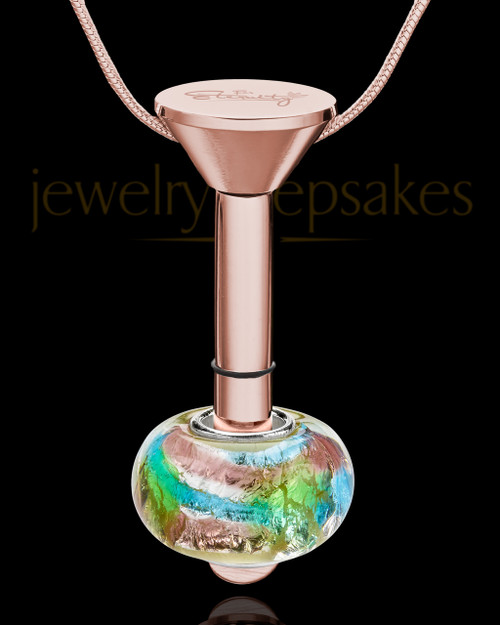 Rose Gold Stainless Millenium Urn Pendant and Flowing Waters Charm