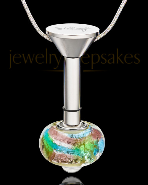 Stainless Millenium Cremation Pendant with Flowing Waters Charm