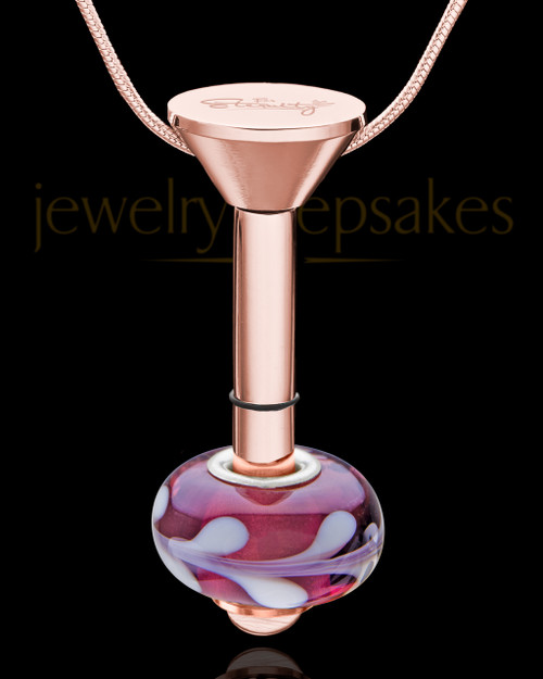 Rose Gold Stainless Millenium Cremation Pendant with Charmed Charm