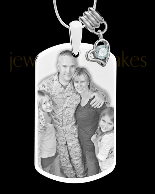 April Photo Engraved Stainless Steel Dog Tag Pendant With Chain
