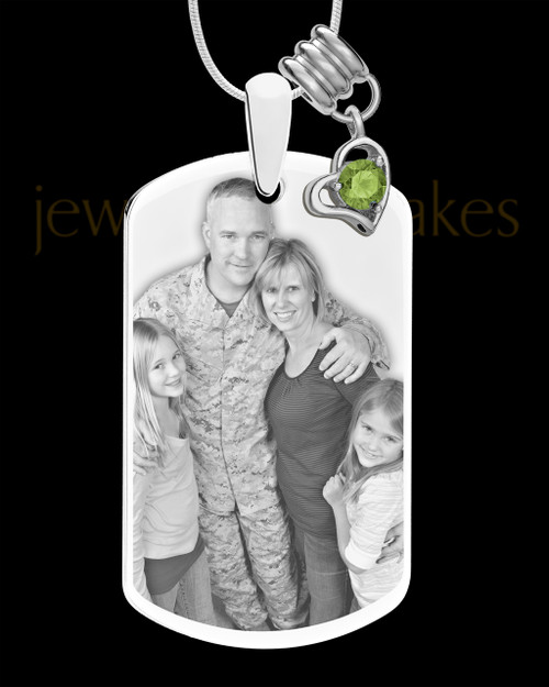 August Photo Engraved Stainless Steel Dog Tag Pendant With Chain