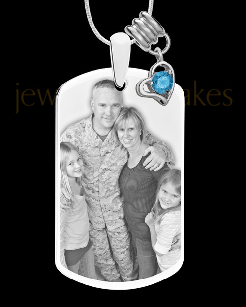 December Photo Engraved Stainless Steel Dog Tag Pendant With Chain