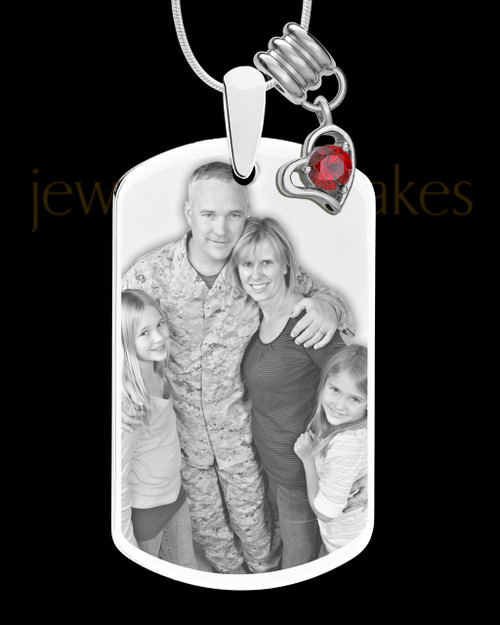 January Photo Engraved Stainless Steel Dog Tag Pendant With Chain