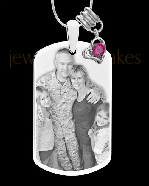 July Photo Engraved Stainless Steel Dog Tag Pendant With Chain