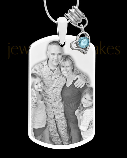 March Photo Engraved Stainless Steel Dog Tag Pendant With Chain
