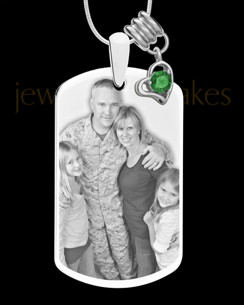 May Photo Engraved Stainless Steel Dog Tag Pendant With Chain