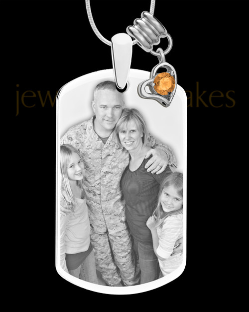 November Photo Engraved Stainless Steel Dog Tag Pendant With Chain