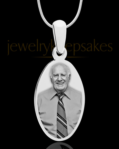 Oval Stainless Steel Photo Pendant