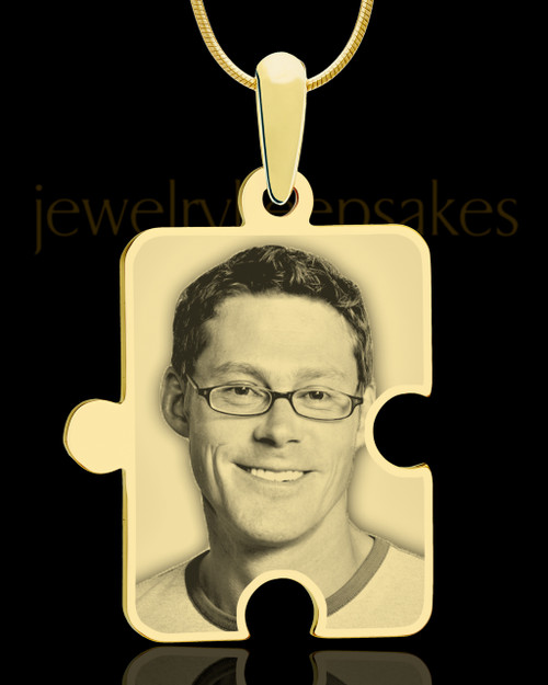 Photo Engraved Large Puzzle Pendant Gold Plated
