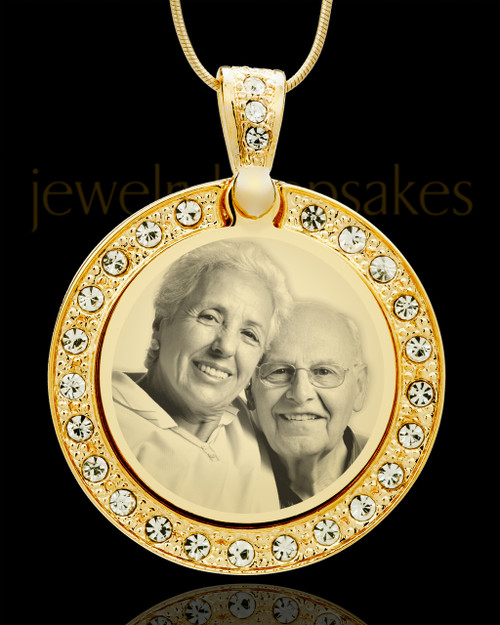 Gem Photo Engraved Circle Gold Plated over Stainless Keepsake
