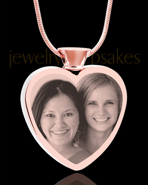 Photo Engraved Heart Rose Gold Plated on Stainless Cremation Pendant