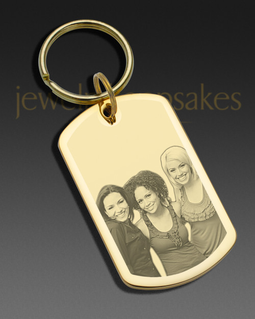 Memorial Jewelry Gold Plated over Stainless Rectangle Photo Engraved Keychain