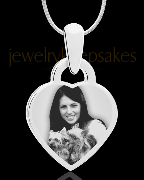 Photo Engraved Small Heart Pet Pendant Stainless Steel