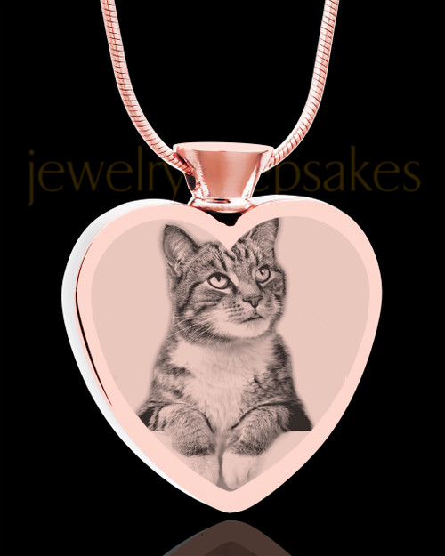 Photo Engraved Heart Stainless Rose Gold Cremation Pet Pendant