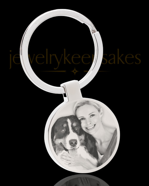 Photo Engraved Stainless Steel Round Pet Keychain