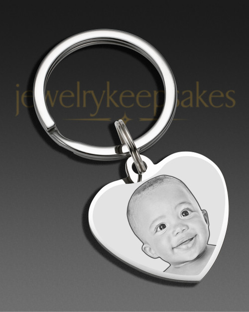 Memorial Keychain Jewelry Stainless Steel Heart Photo Engraved