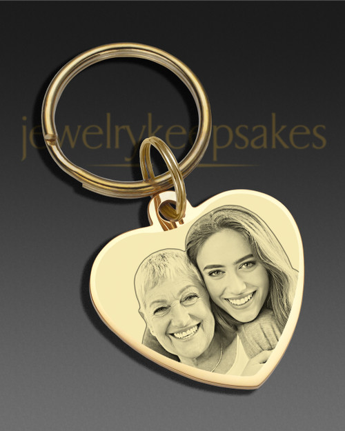 Memorial Keychain Jewelry Gold Plated over StainlessHeart Photo Engraved