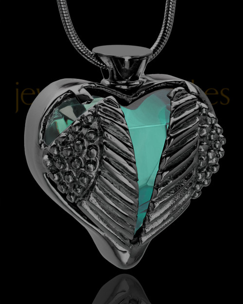 Black Plated Stainless Steel Turquoise Fond Emotions Jewelry Keepsake