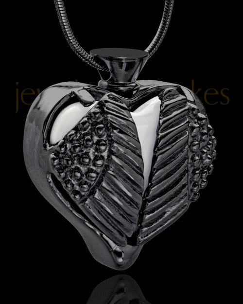 Black Plated Stainless Steel White Fond Emotions Jewelry Keepsake