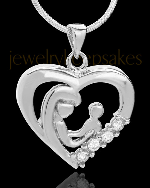 Sterling Silver Unconditional Heart Cremation Pendant