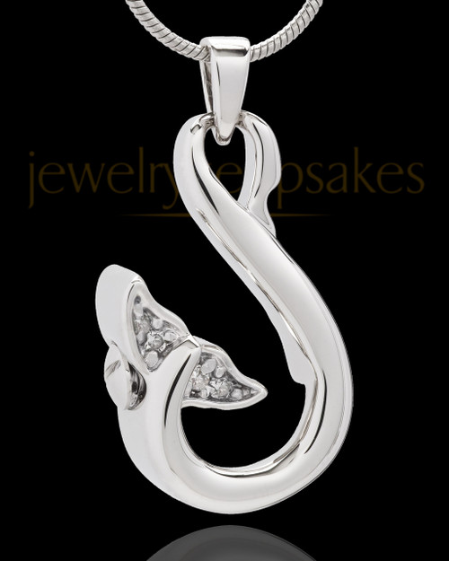 Sterling Silver Jeweled Whale's Tail Cremation Pendant
