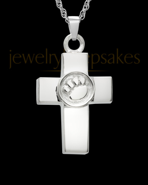 Ash Keepsake Sterling Silver Dedication Paw Cross Keepsake