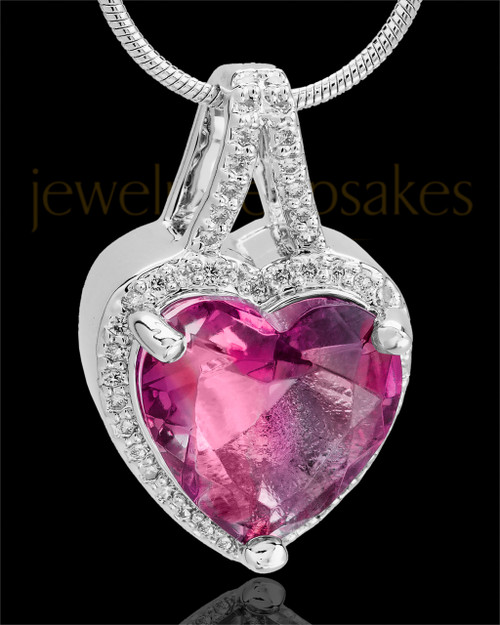 Sterling Silver Rose Reflective Heart Cremation Pendant