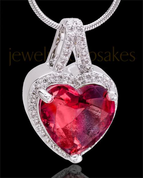 Sterling Silver Crimson Reflective Heart Cremation Pendant