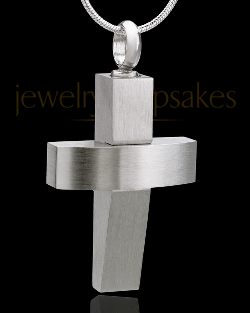 Stainless Steel Jewelry Urn Modern Cross