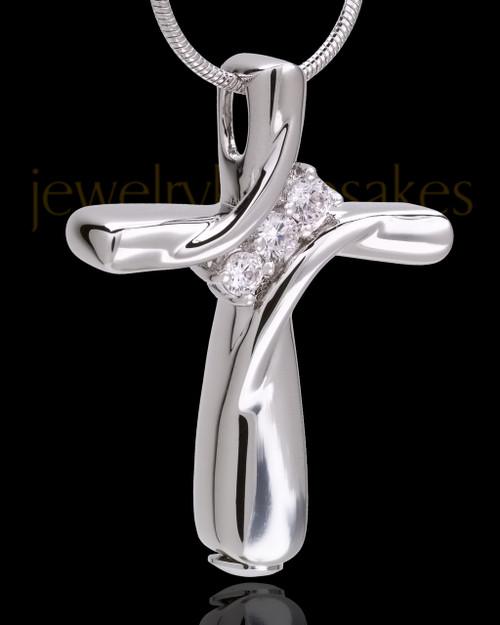 Sterling Silver Elegant Cross Cremation Pendant